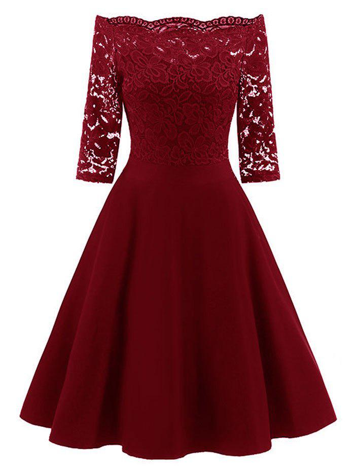 Lace Off The Shoulder Vintage Flare Dress - WINE RED S