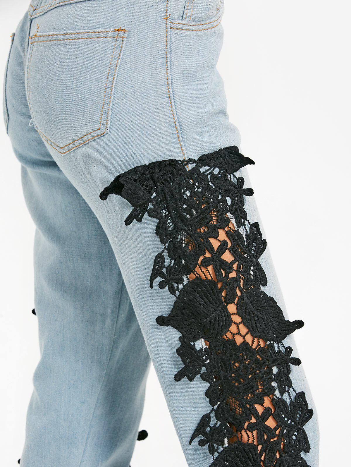 Light Wash Lace Panel Skinny Jeans - BLACK M