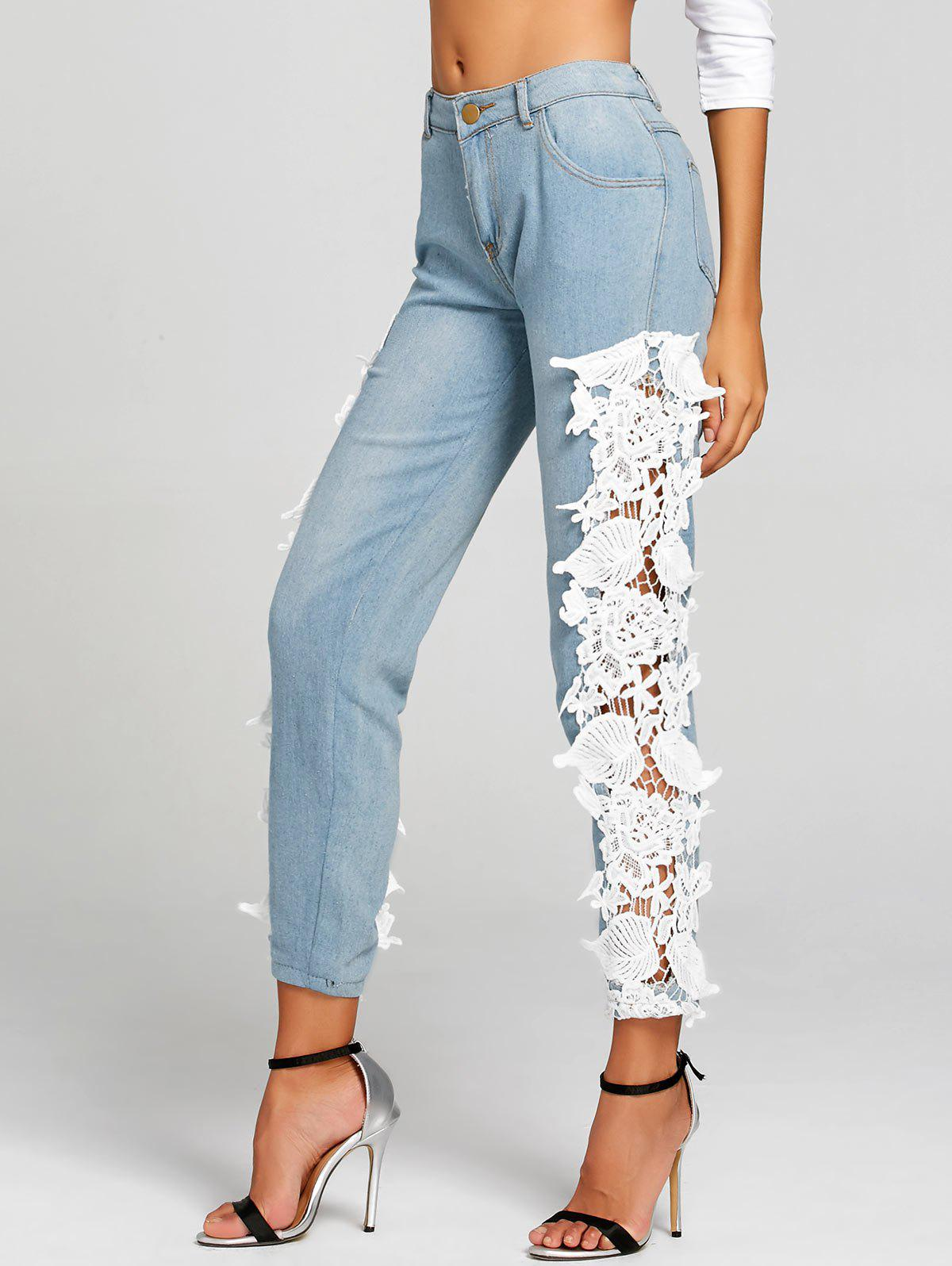 Light Wash Lace Panel Skinny Jeans - WHITE XL