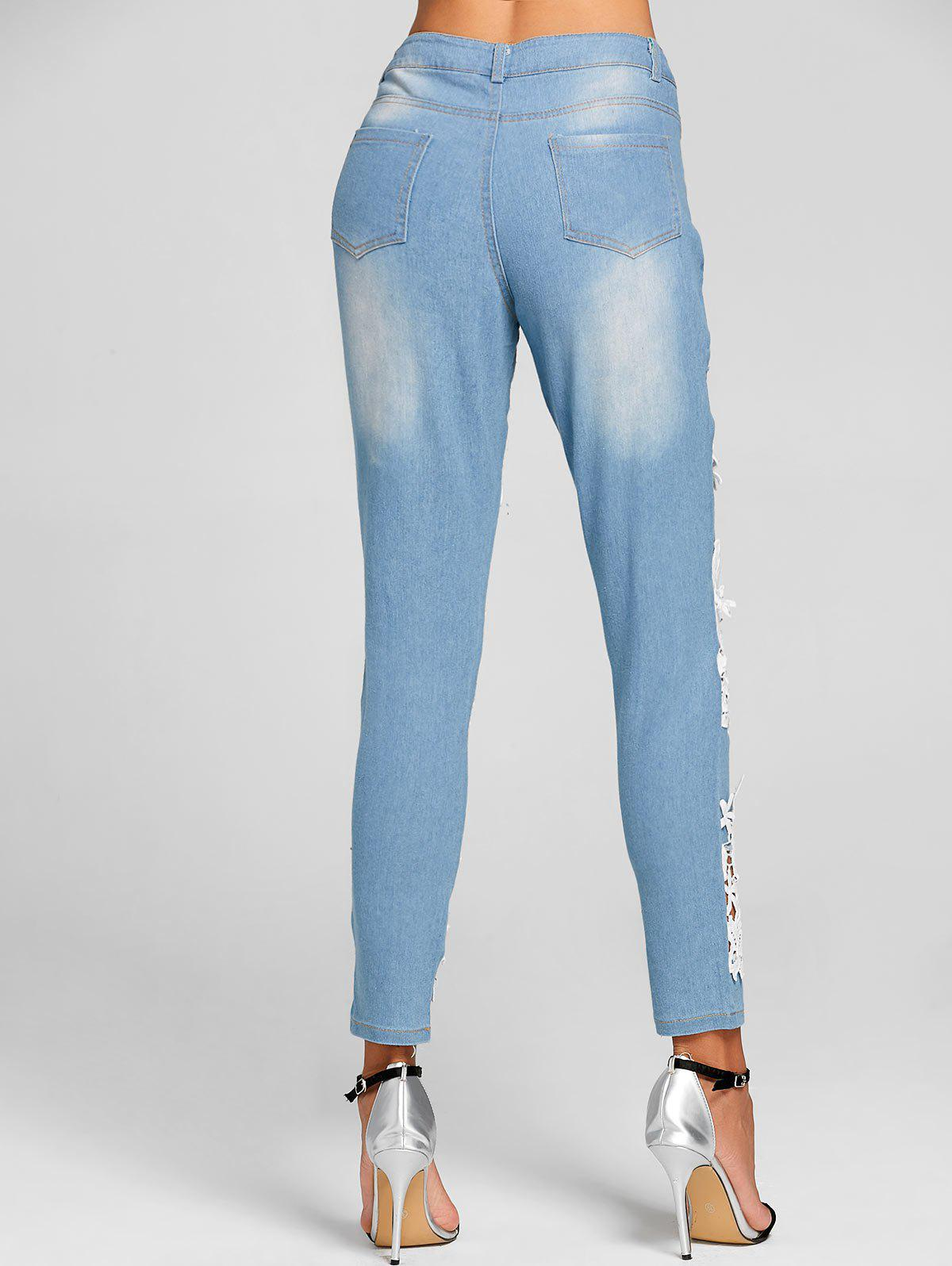 Lace Insert Hole Skinny Destroyed Jeans - CLOUDY XL