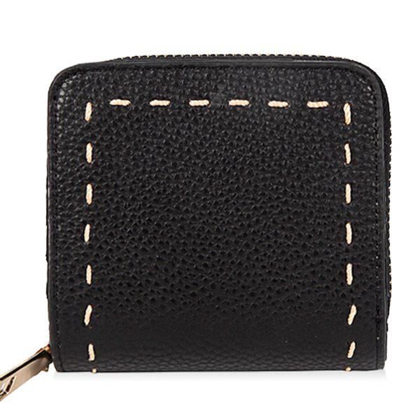 Zip Around Whipstitch PU Leather Wallet - BLACK