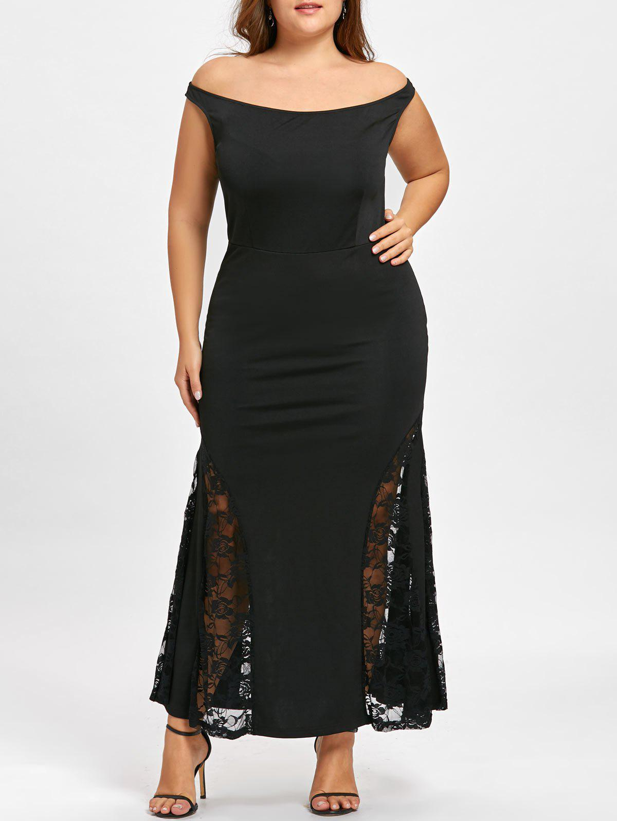 2018 Off Shoulder Plus Size Maxi Mermaid Dress BLACK XL In Plus ...