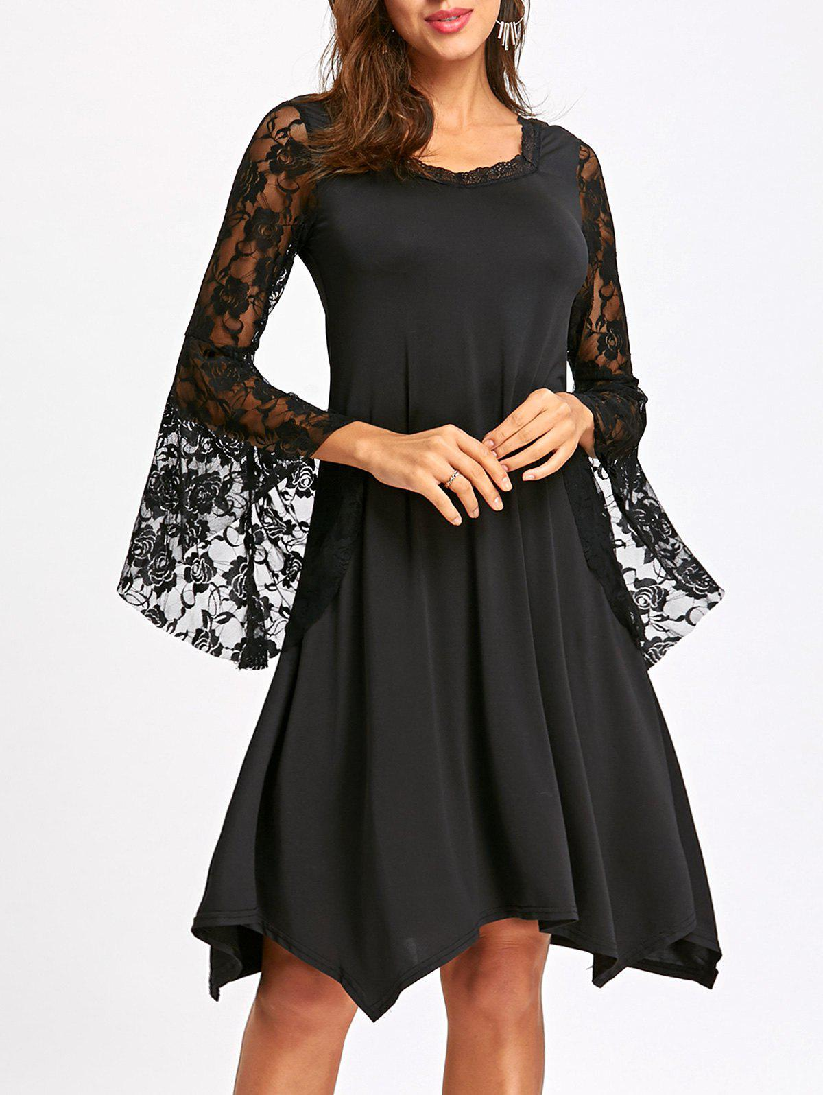 Lace Bell Sleeve Handkerchief Dress bell sleeve lace insert mini party dress