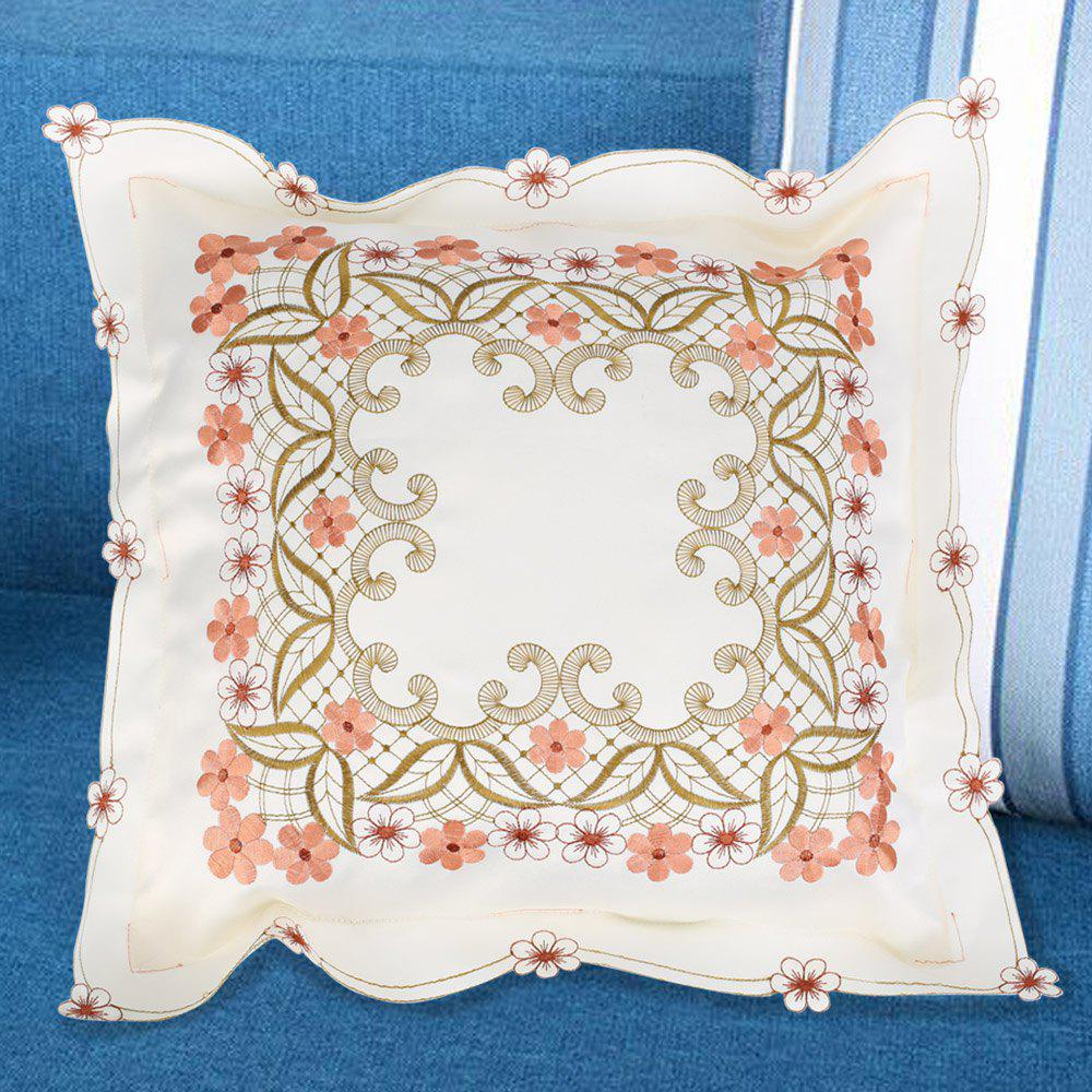 Polyester Embroidered Decorative Square Pillow Case - BEIGE W18 INCH * L18 INCH