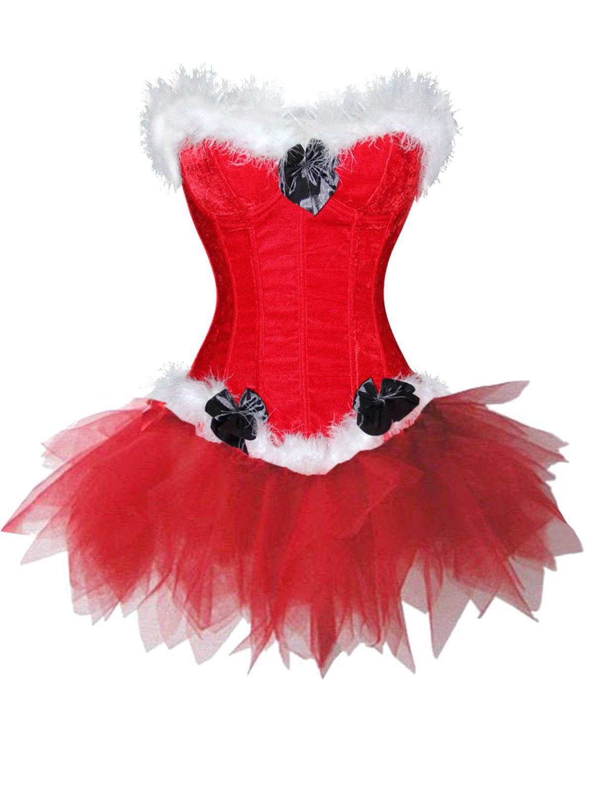 Lingerie Christmas Santa Claus Two Piece Corset Dress - RED L