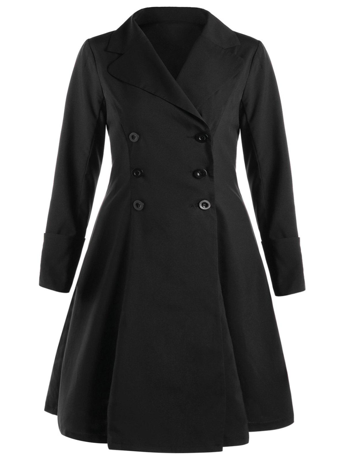 Plus Size Flounced Lace Up Coat - BLACK 4XL