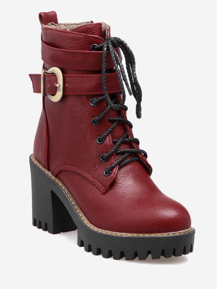 Platform Chunky Heel Ankle Boots - RED 41