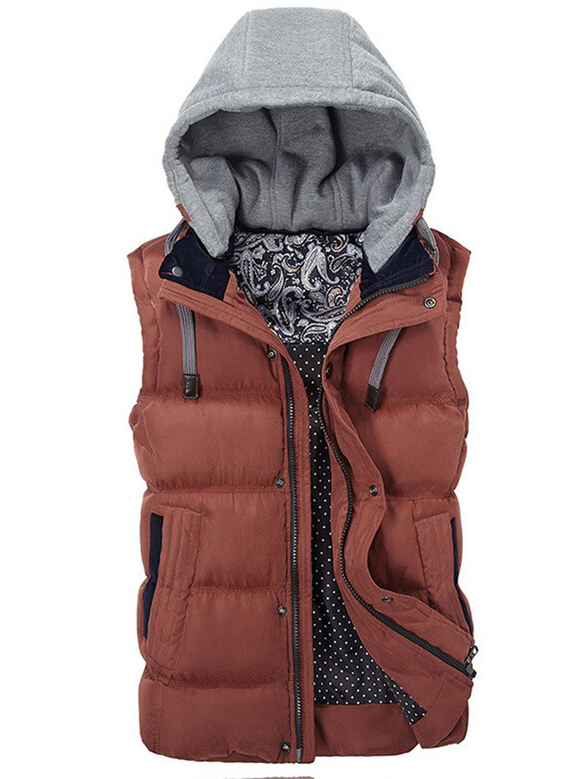 Contrast Drawstring Hood Puffer Vest - RED XL