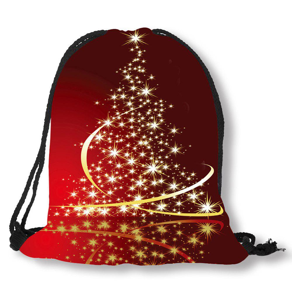 Storage Bags For Christmas Trees - Starlight christmas tree patterned drawstring candy storage bag red yellow