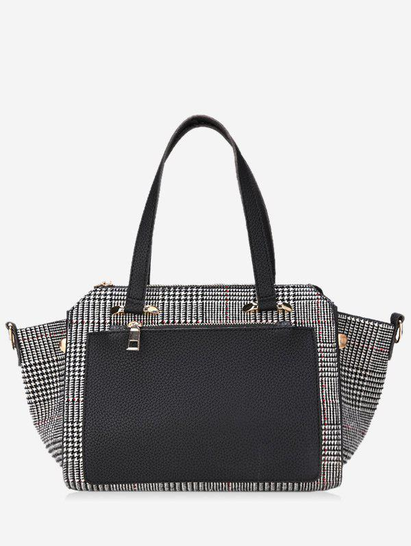 Sac à main à carreaux Color Block avec sangle - Noir