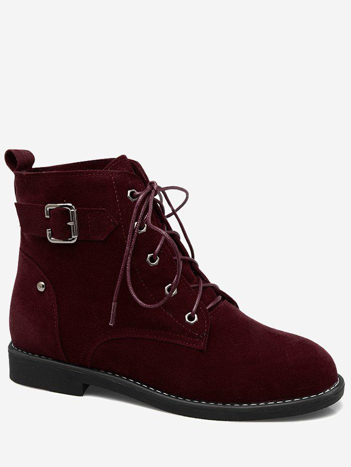 Buckled Embellish Tie Up Ankle Boots - WINE RED 42