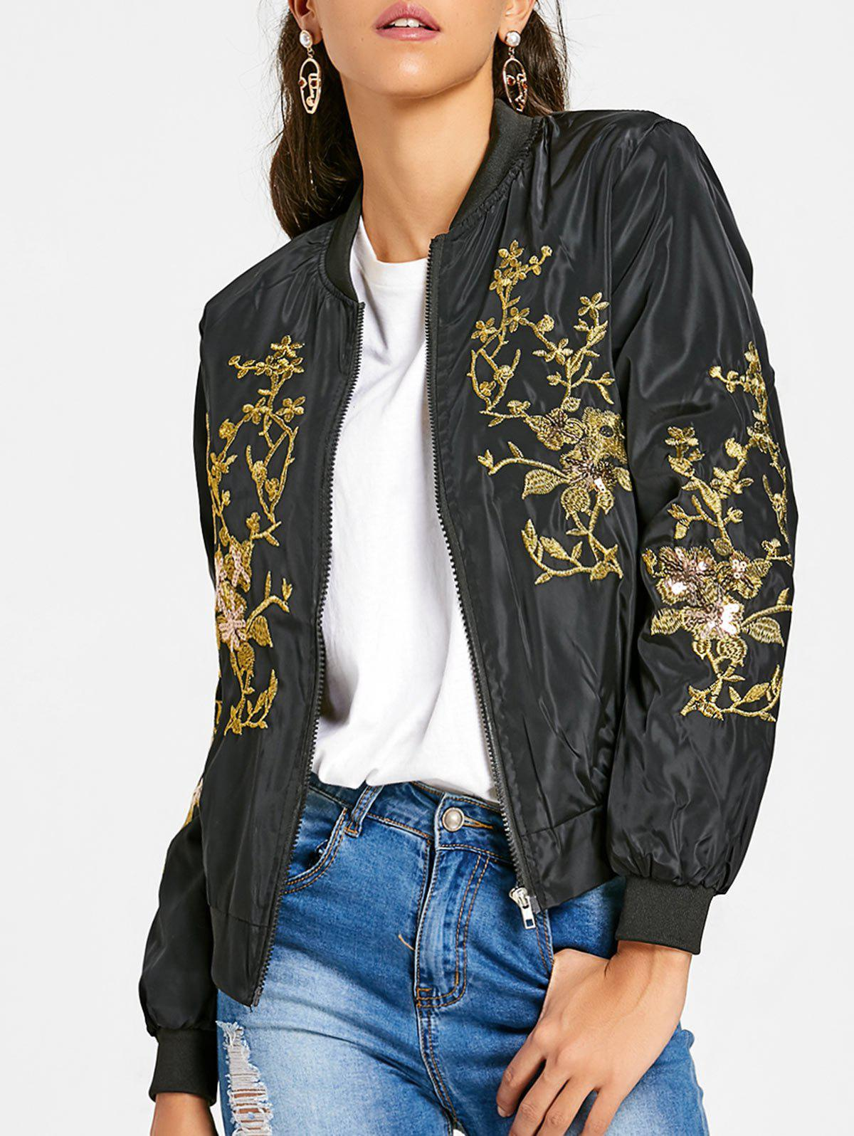 Sequin Embroidered Zip Up Jacket sequin embroidered zip up jacket page 1