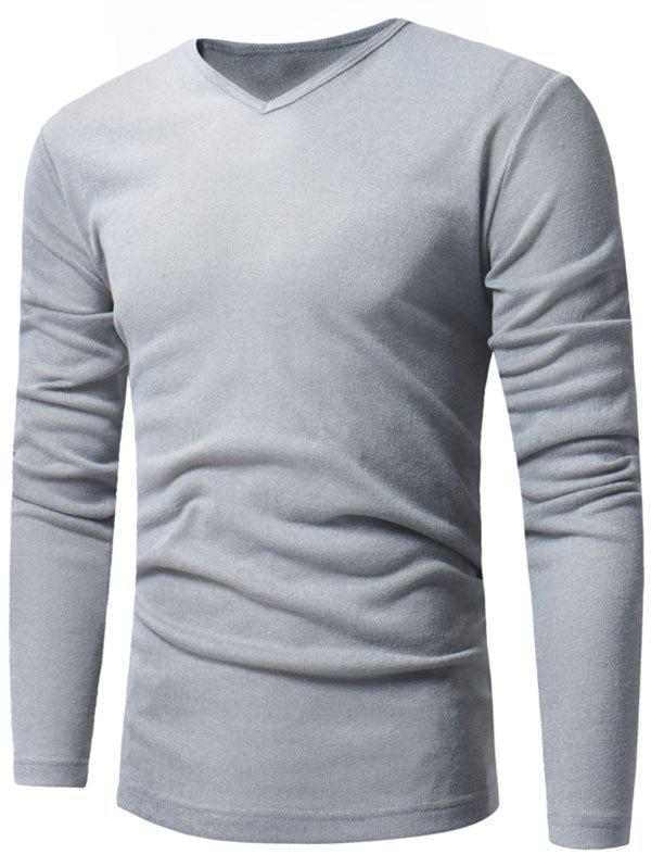 V Neck Classic Pullover Sweater - LIGHT GRAY L