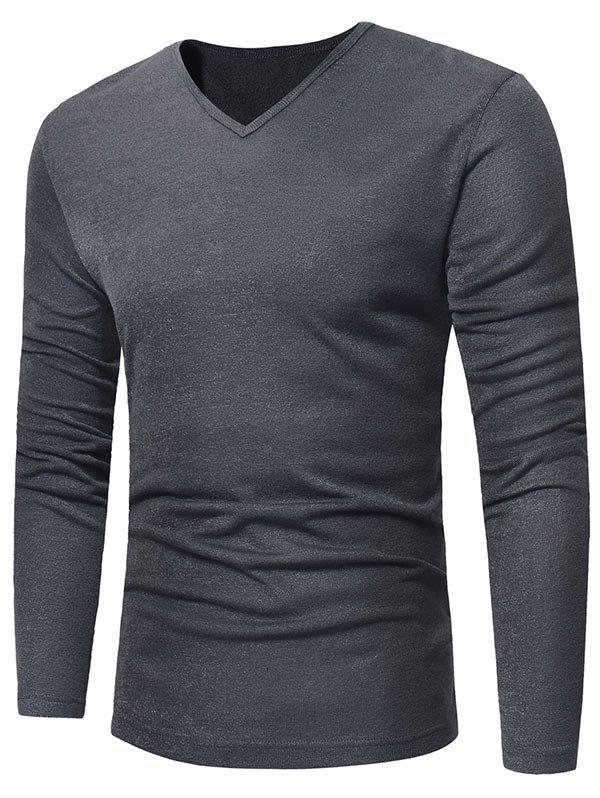 V Neck Classic Pullover Sweater - DEEP GRAY XL