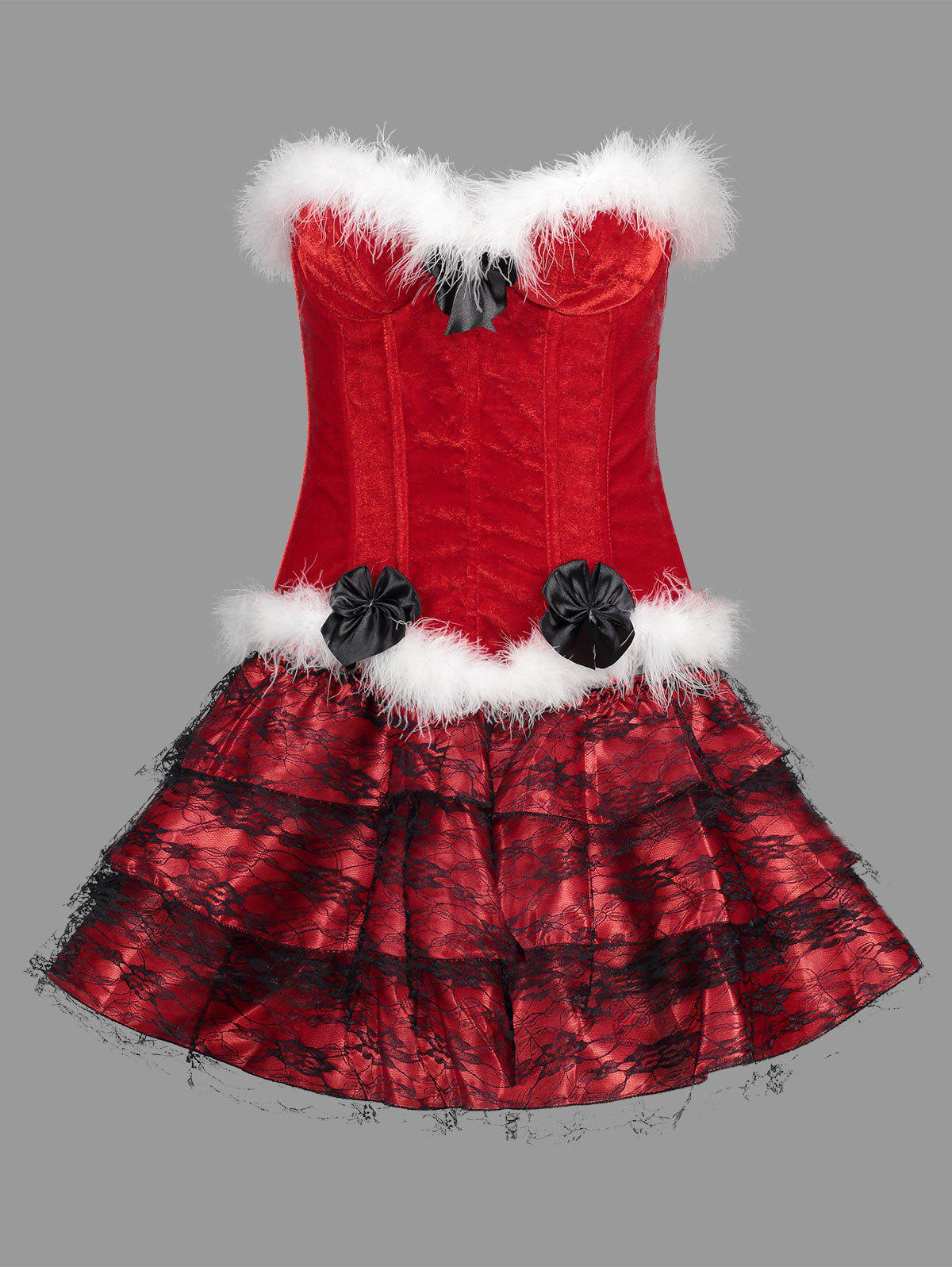 Ruffles Christmas Velvet Corset Dress Costume - RED S