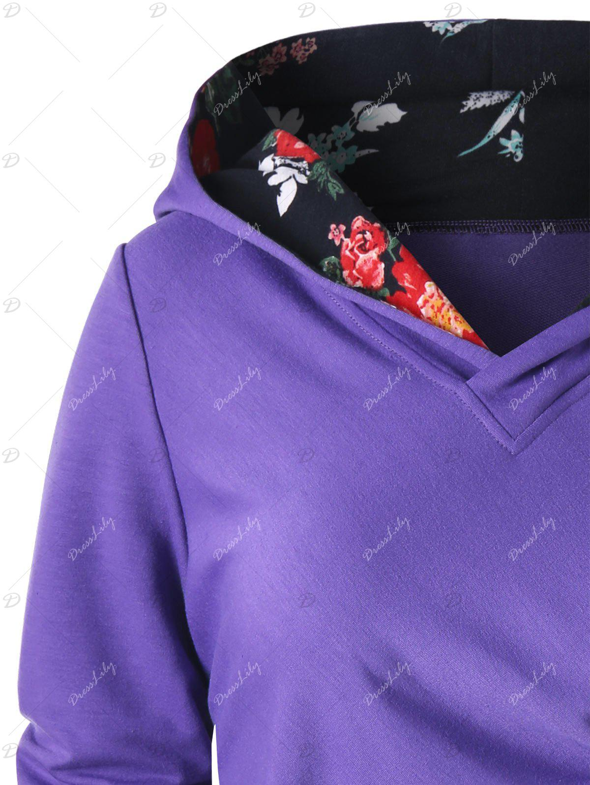 Button Ruched Hoodie - PURPLE XL