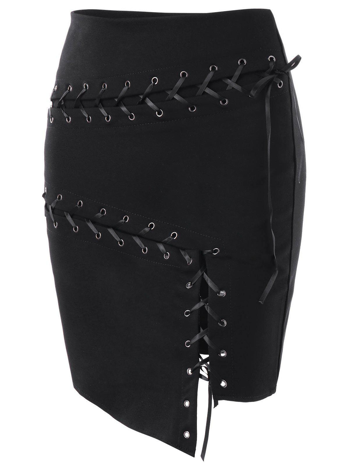Asymmetric Lace Up Skirt - BLACK M