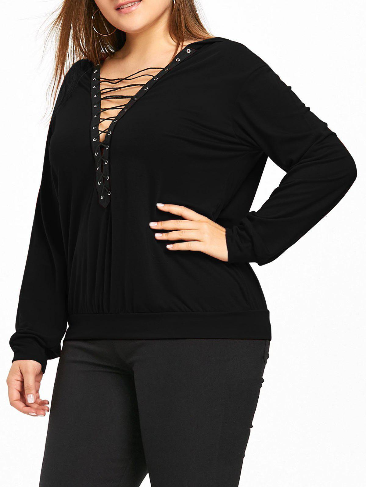 Plus Size Plunge V Neck Lace Up Hoodie - BLACK 3XL