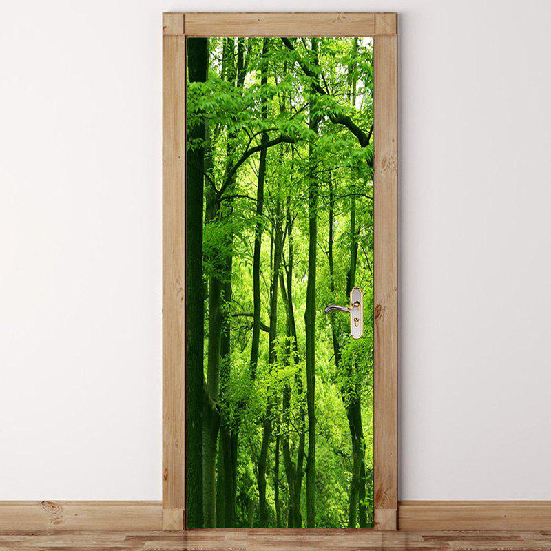Sunshine Forest Printed Door Art Stickers - GREEN 38.5*200CM*2PCS