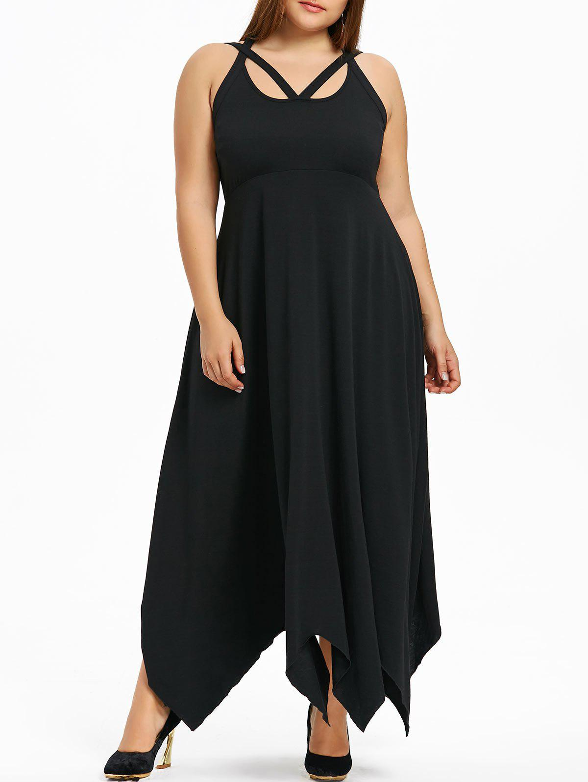 2018 Plus Size Empire Waist Maxi Handkerchief Dress Black Xl In
