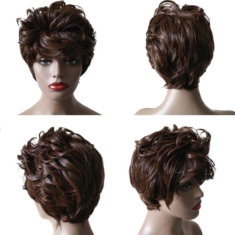 Short Inclined Bang Fluffy Layered Slightly Curly Synthetic Wig short pixie cut capless straight inclined bang synthetic wig