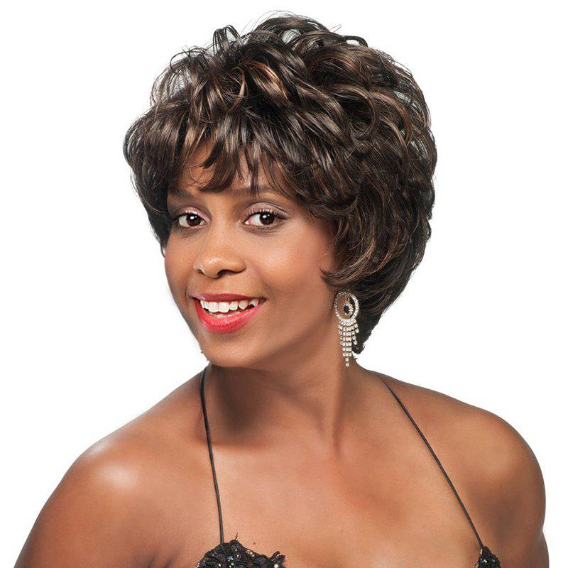 Short Side Bang Layered Slightly Curly Colormix Synthetic Wig short