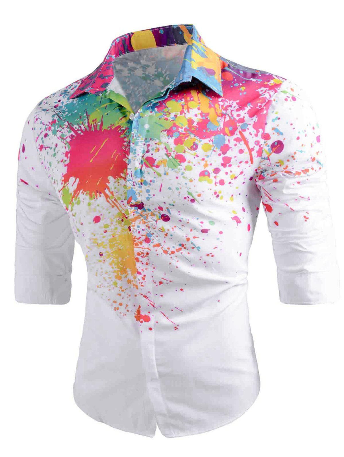 Colored  Splatter Painted Button Up Shirt - WHITE XL