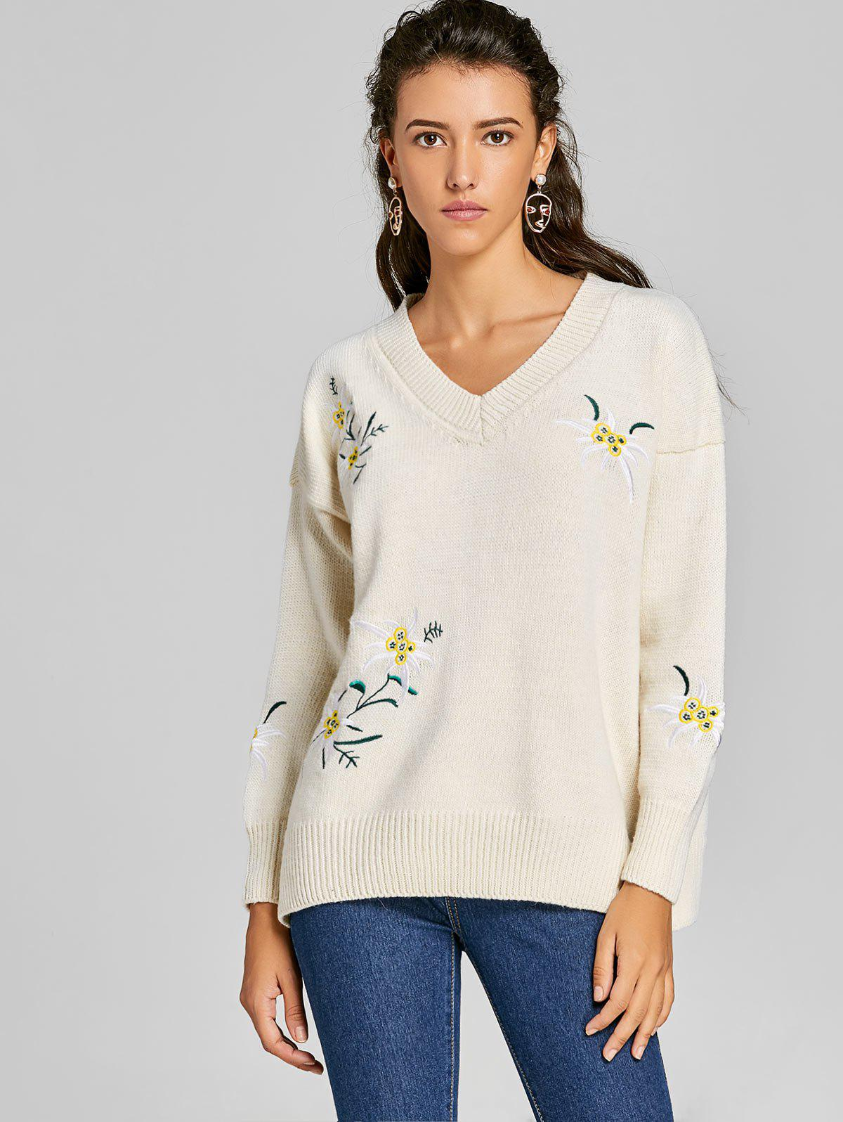 2017 V Neck Floral Embroidered Tunic Sweater OFF WHITE ONE SIZE In ...