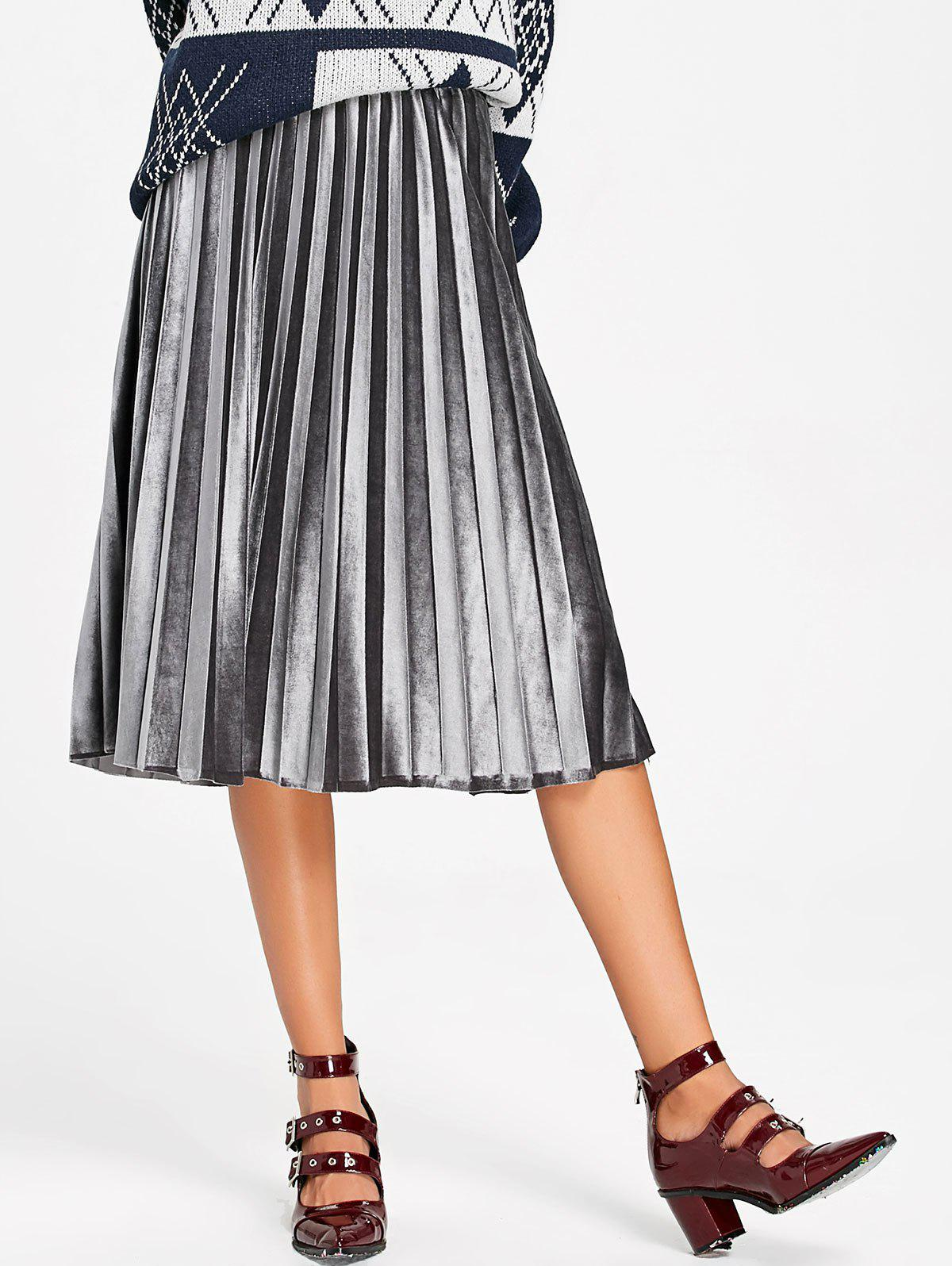 цены Midi High Waisted Velvet Pleated Skirt