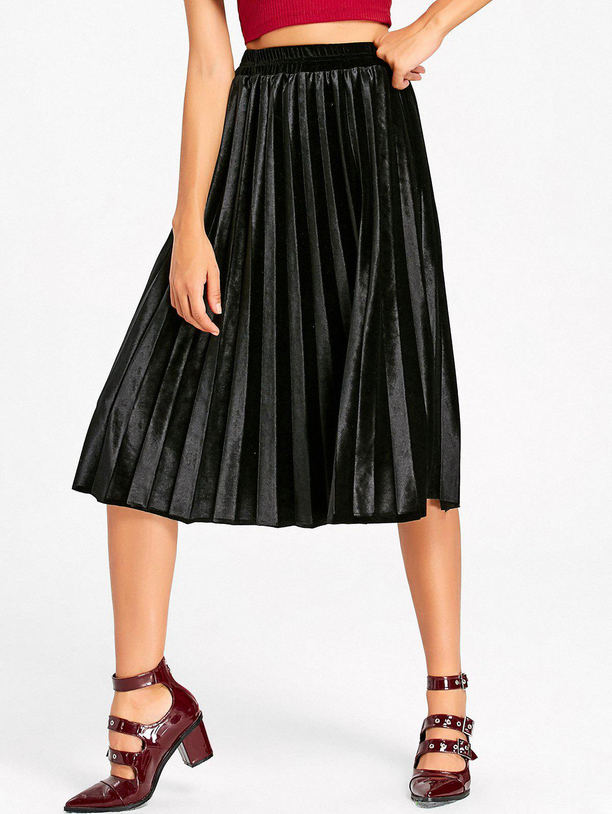 Midi High Waisted Velvet Pleated Skirt high waisted bodycon midi skirt