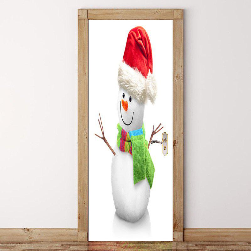 Snowman Printed Environmental Removable Door Stickers spot light background snowman printed removable stair stickers
