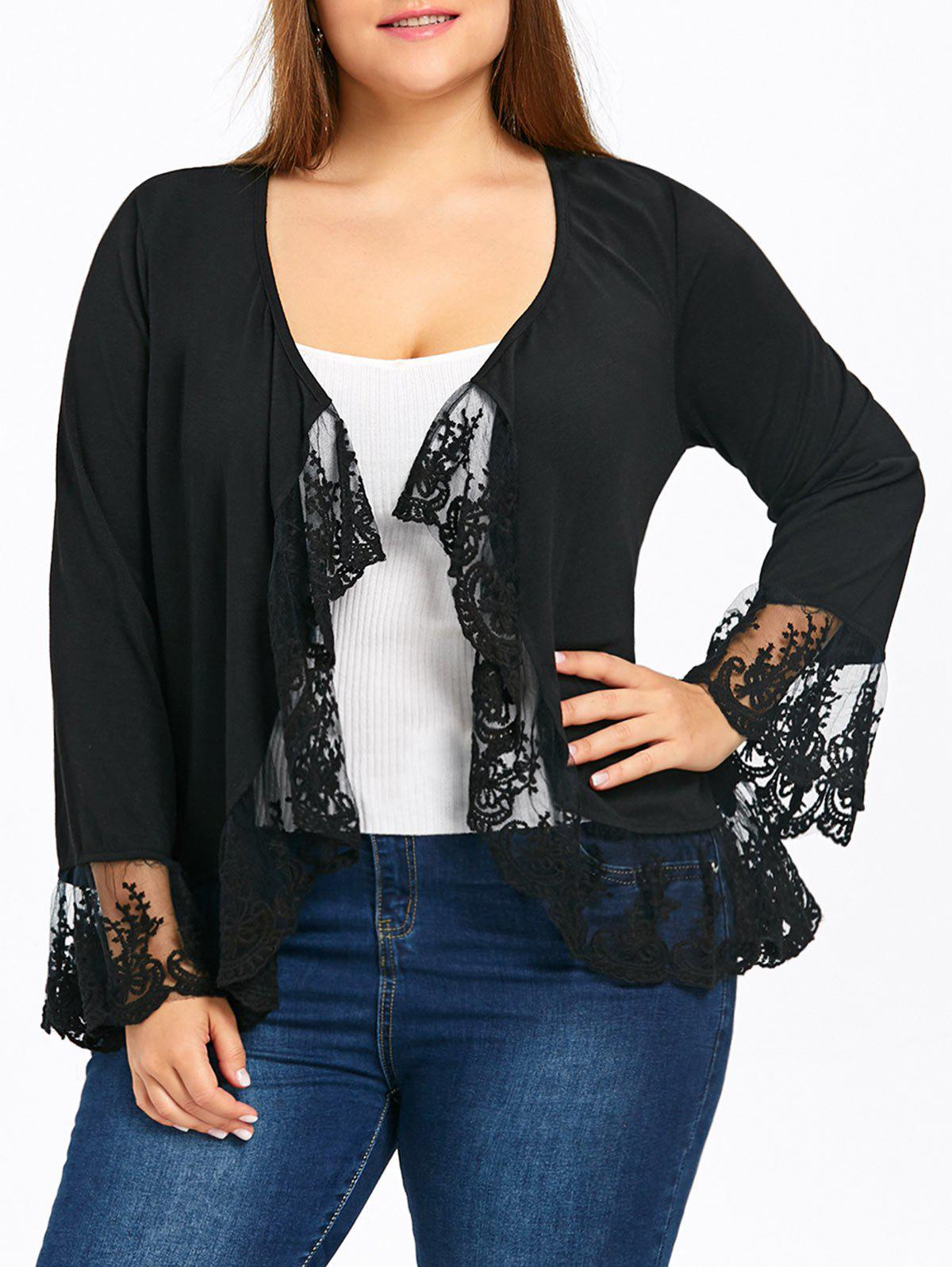 Plus Size Flare Sleeve Lace Panel Open Front Jacket - BLACK XL
