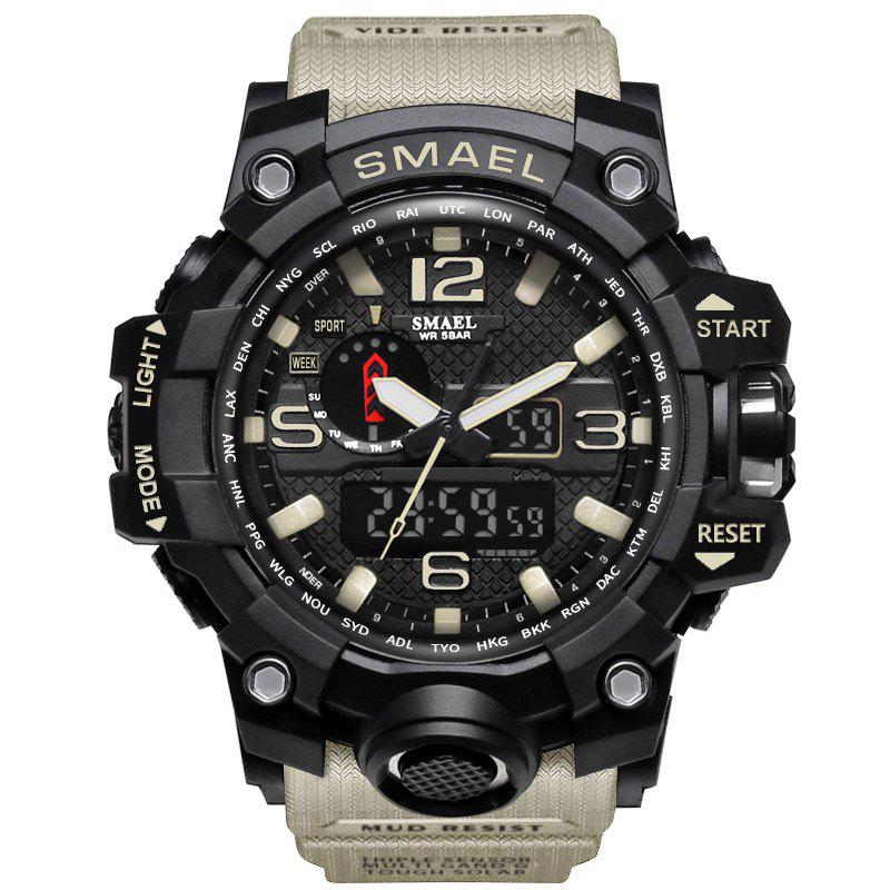 Multifuctional Quartz Digital Sport Military Watch - KHAKI