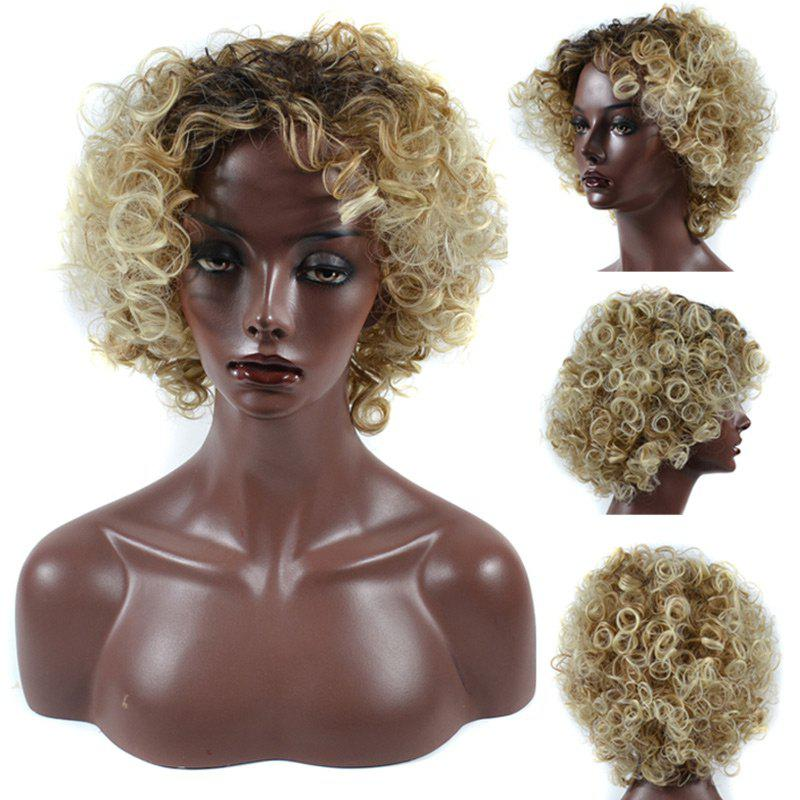 Short Side Bang Colormix Fluffy Curly Synthetic Wig charming fashion short jerry curly fluffy side bang heat resistant synthetic women s blonde wig