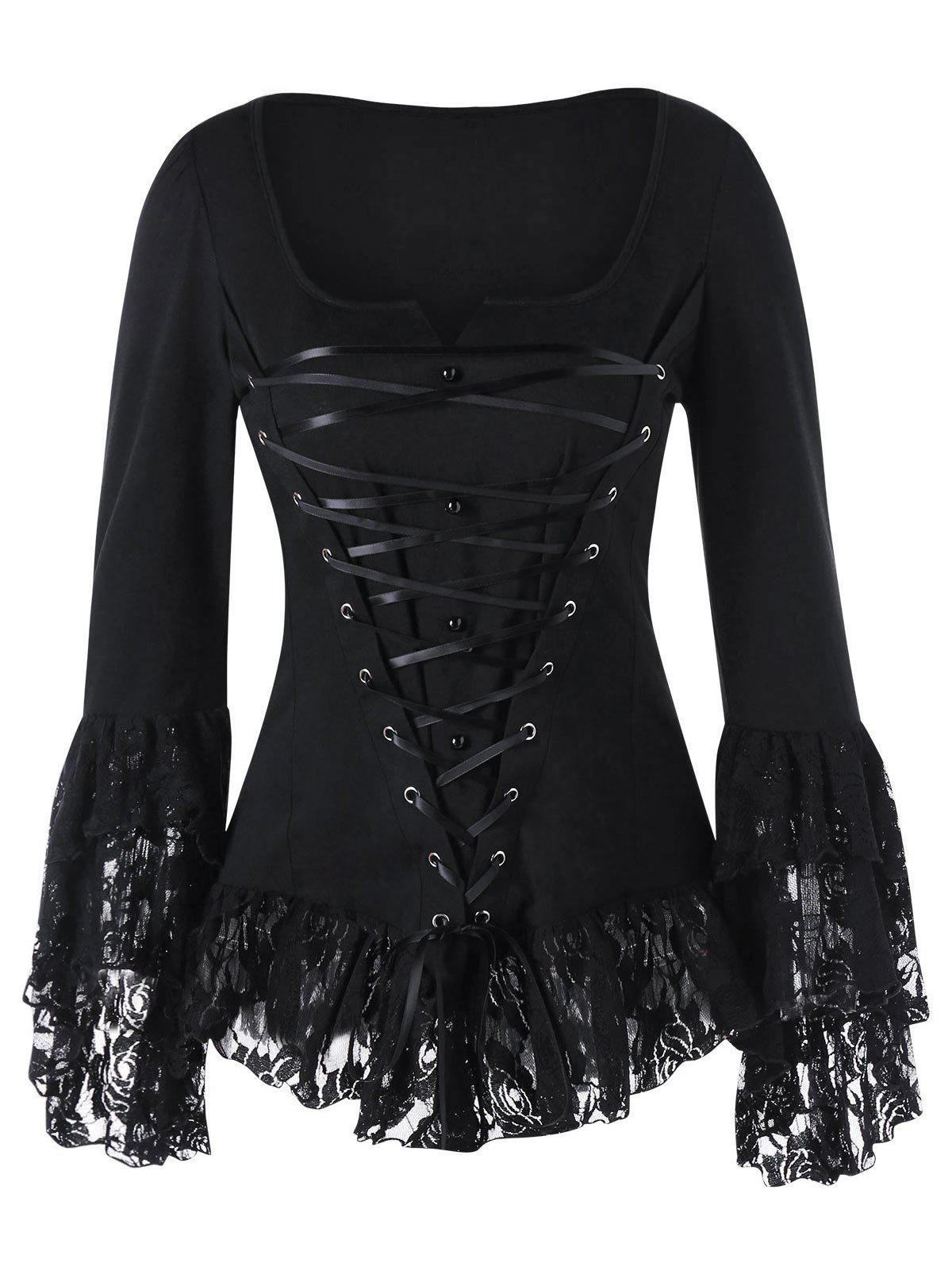 Lace Up Square Neck Gothic Top - BLACK 2XL