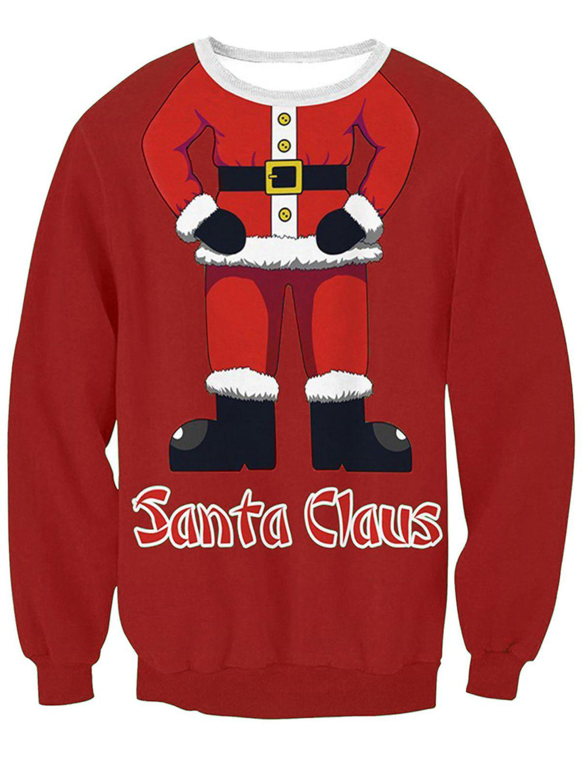 Santa Claus Body 3D Print Pullover Sweatshirt - RED M