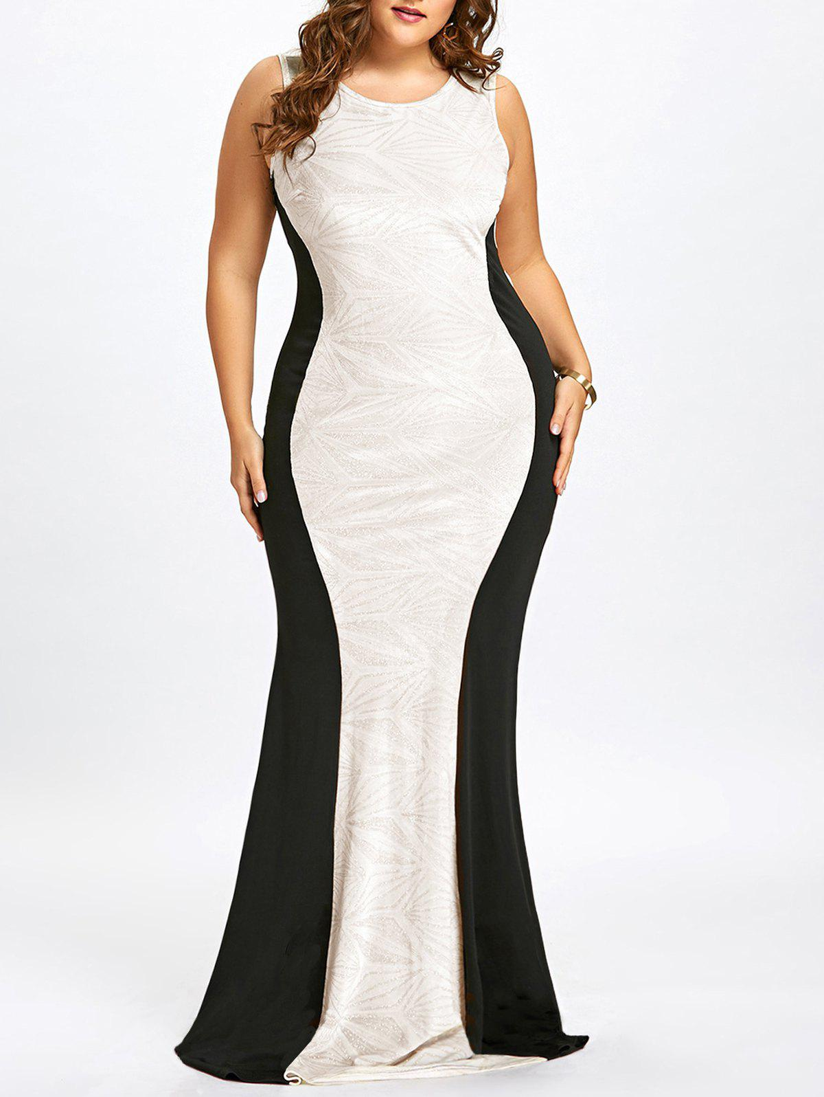 2018 Plus Size Cut Out Sleeveless Mermaid Gown WHITE XL In Dresses ...
