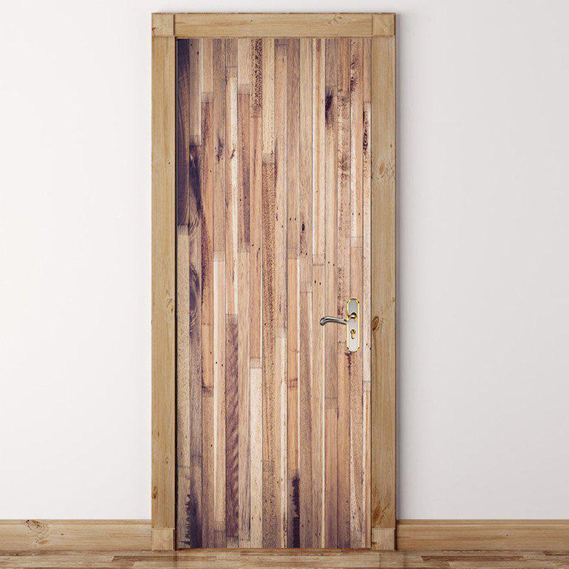 Striated Wood Pattern Door Cover Stickers - WOOD 38.5*200CM*2PCS