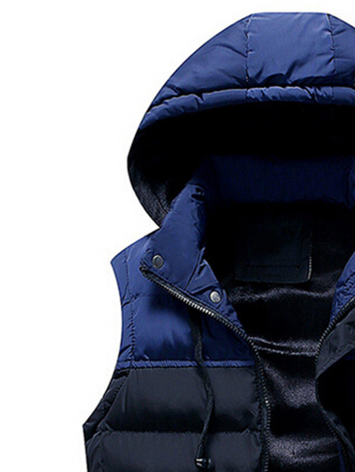 Zip Up Color Block Hooded Padded Vest - CADETBLUE 2XL