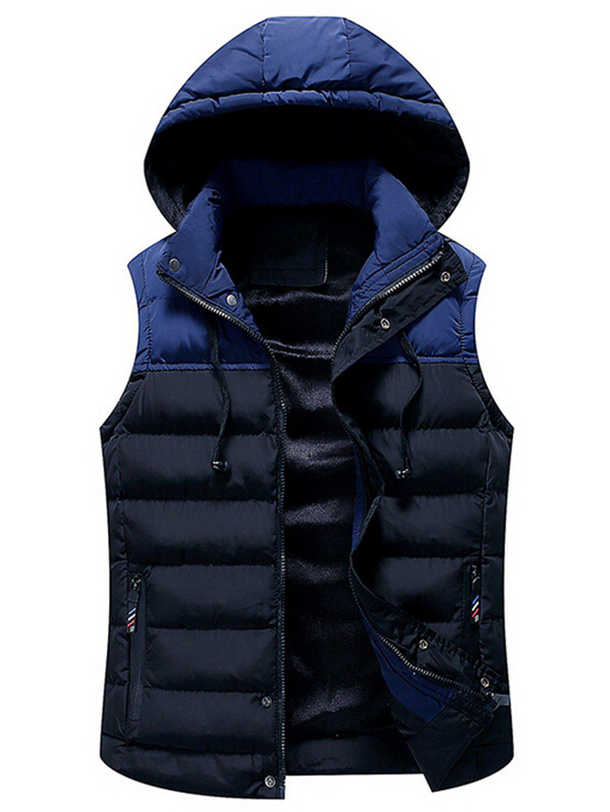 Zip Up Color Block Hooded Padded Vest - CADETBLUE 3XL