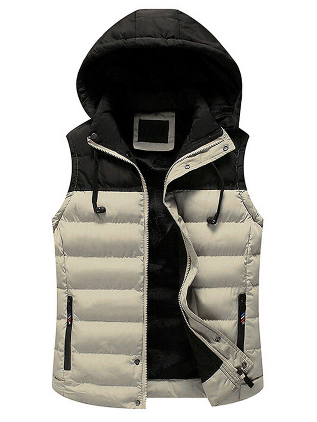 Zip Up Color Block Hooded Padded Vest - KHAKI XL