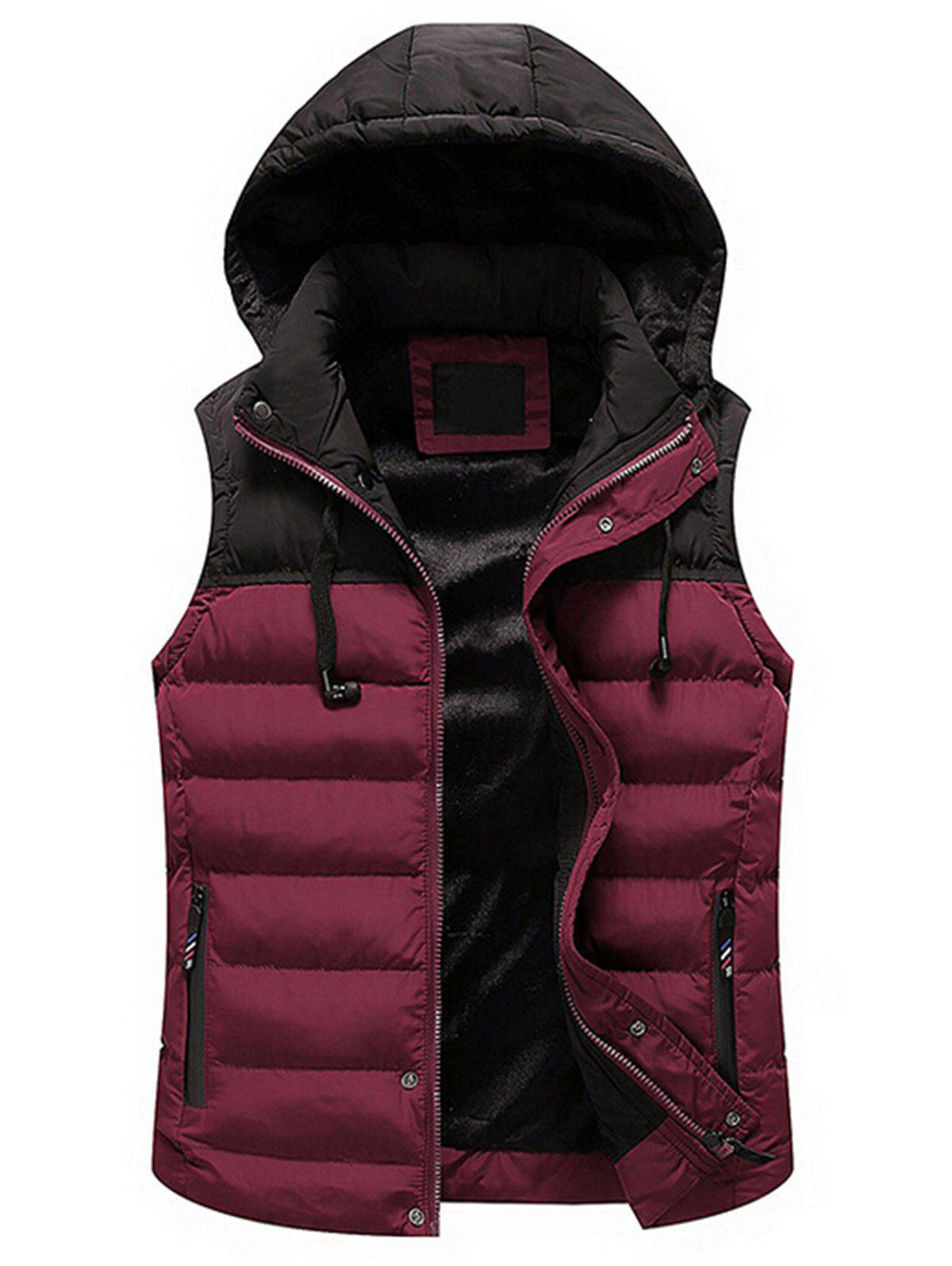 Zip Up Color Block Hooded Padded Vest - RED 3XL