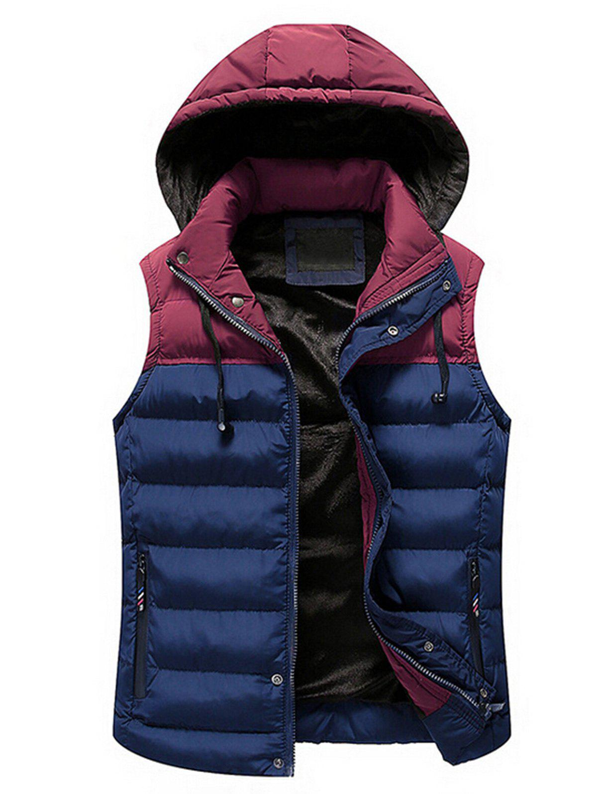 Zip Up Color Block Hooded Padded Vest - DEEP BLUE 2XL