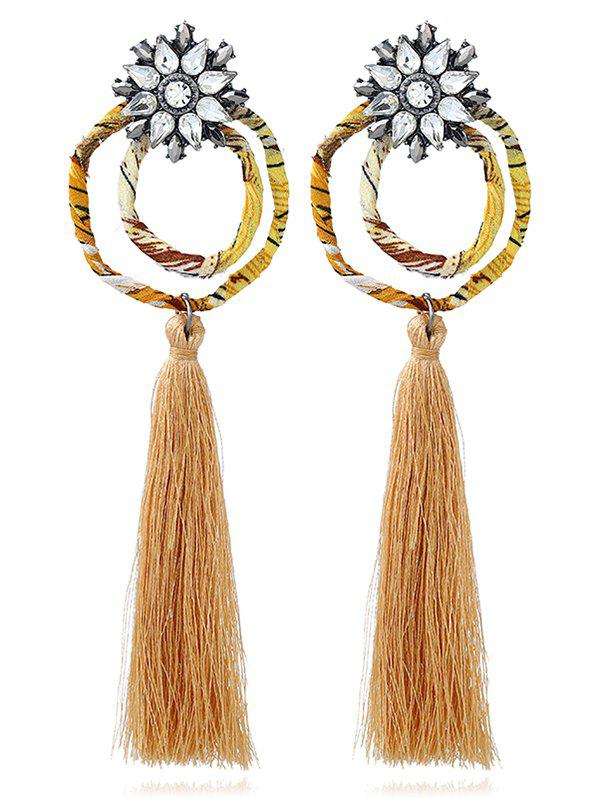 Vintage Rhinestone Floral Circle Tassel Earrings - EARTHY
