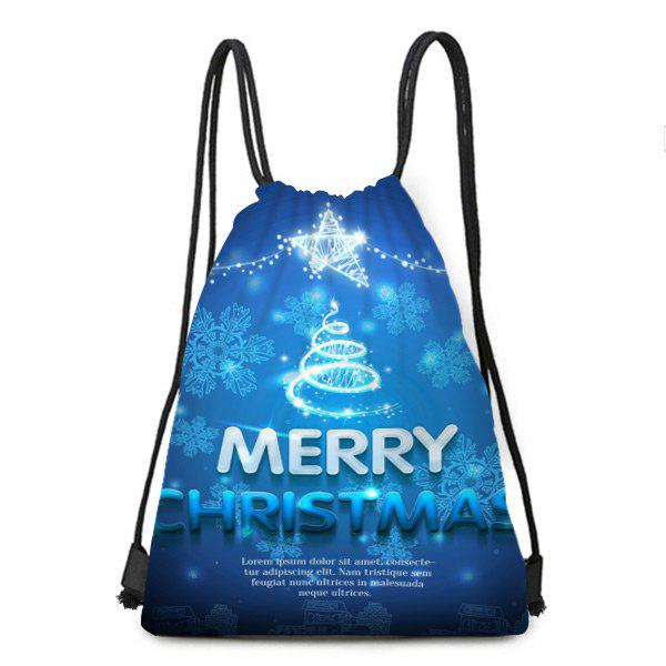 Snowflake and Letters Printed Christmas Drawstring Backpack - BLUE