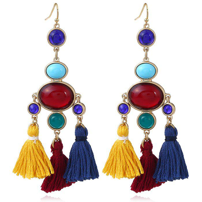 Faux Gem Oval Tassel Vintage Chandelier Earrings faux gem triangle oval necklace