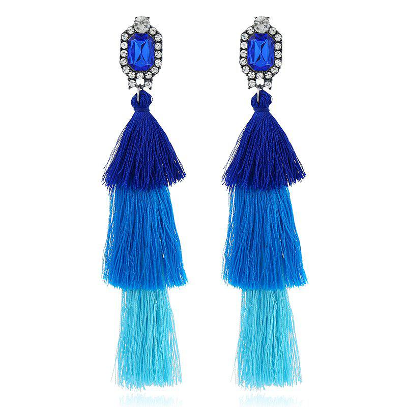 Vintage Layered Rhinestone Tassel Earrings vintage rhinestone triangle pendant earrings