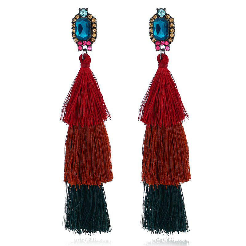 Vintage Layered Rhinestone Tassel Earrings - DEEP RED