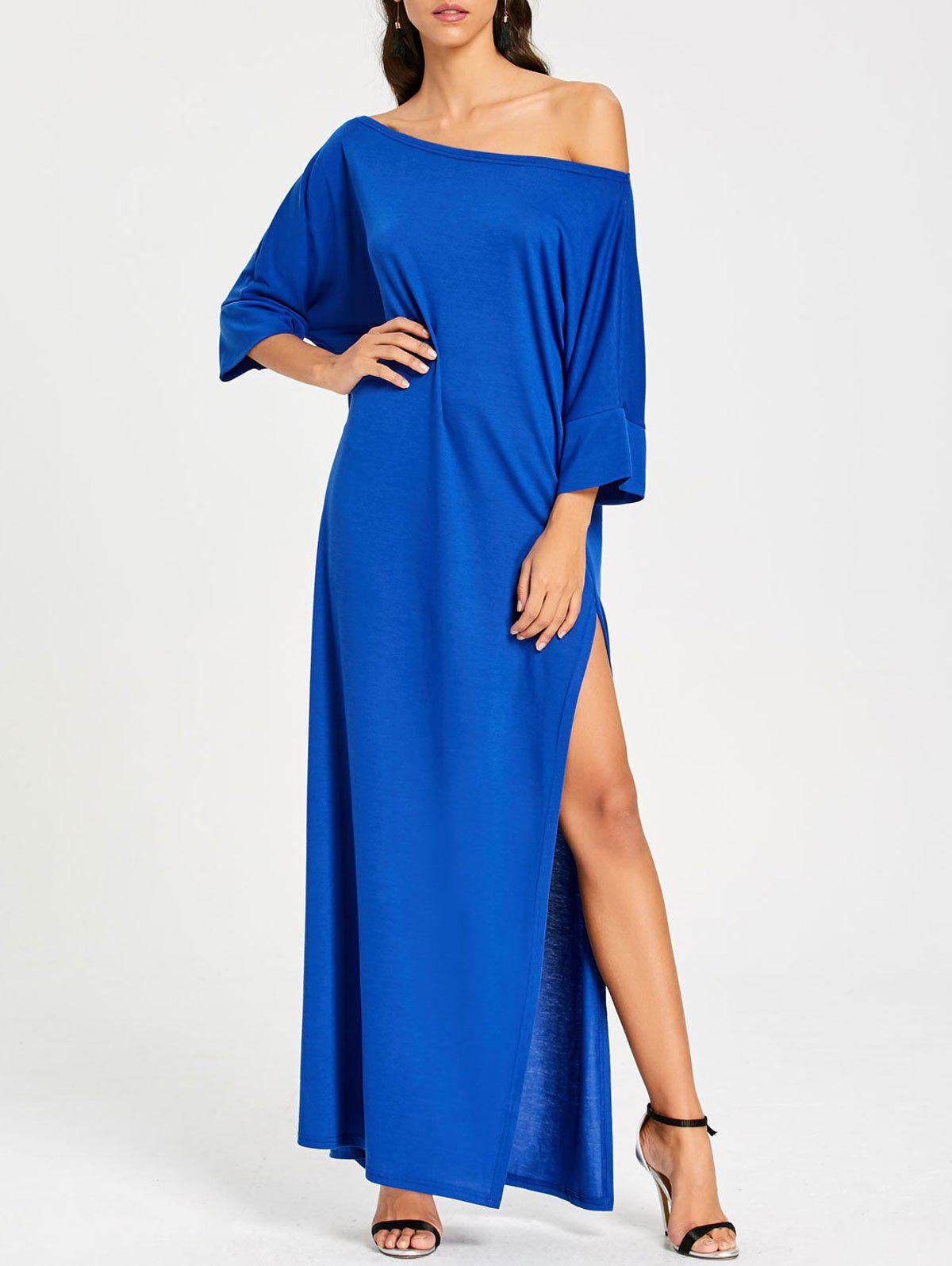 Maxi High Slit Skew Collar Dress - BLUE S