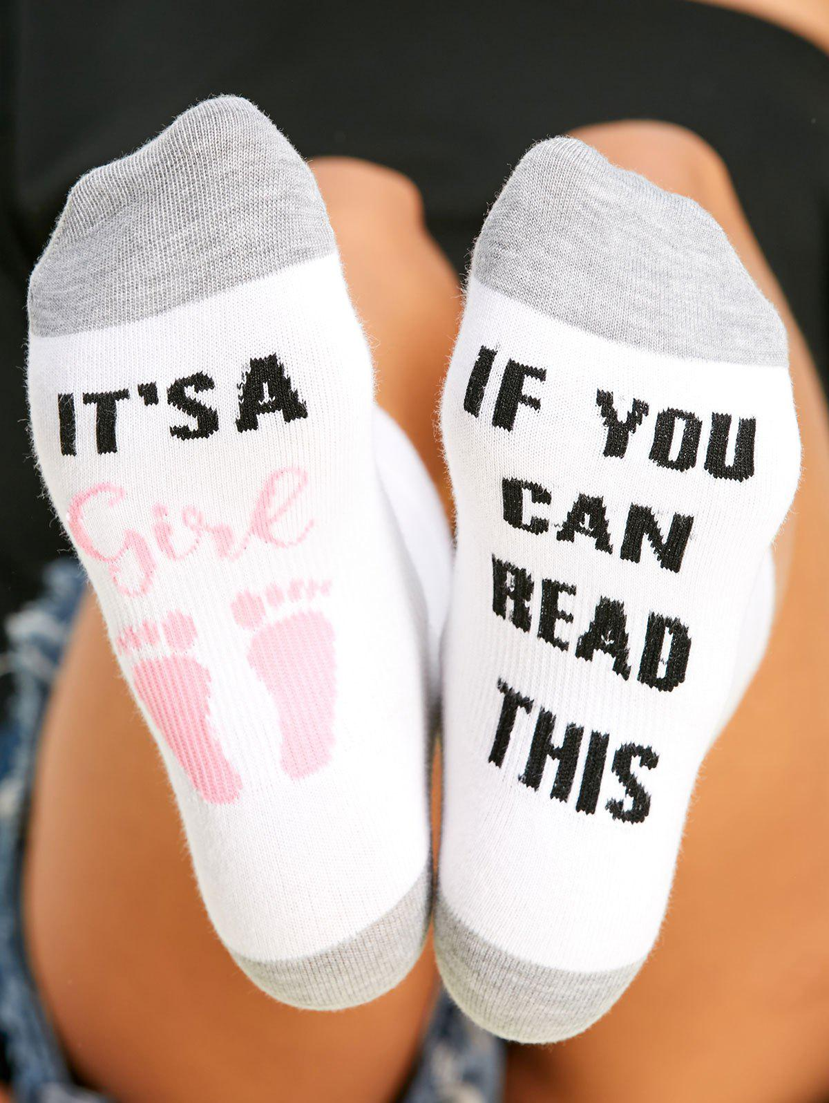 Letter Graphic Contrast Socks - PINK